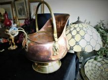 VINTAGE COPPER COAL SCUTTLE HELMET SHAPE LION SIDE BLUE WHITE PORCELAIN HANDLE